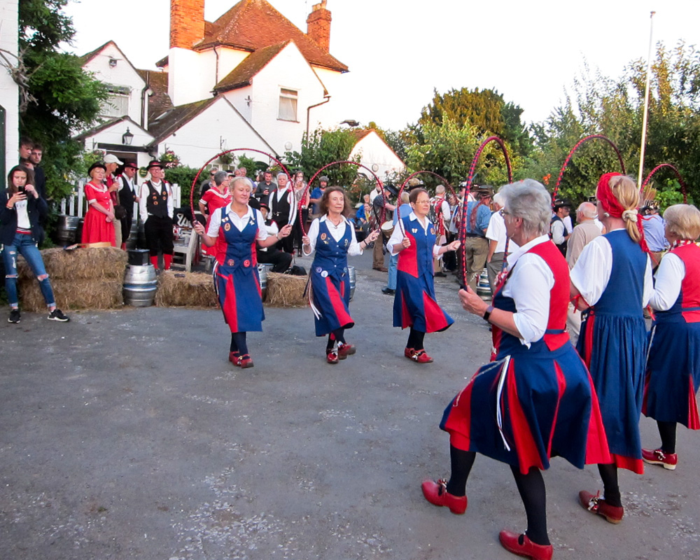 Dancing in front of the Camp Pub, Grimley