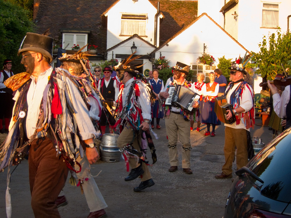 Alvechurch Morris sunlit in front of the Camp Pub