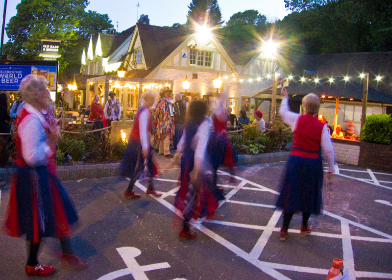 dancing outside the hare and hounds rednal at nightfall