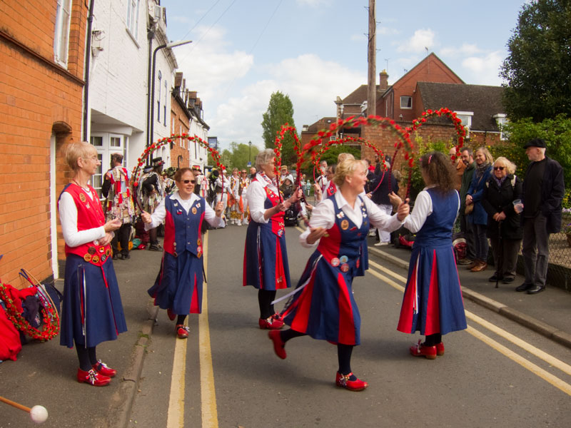 dancing 'petals' in a narrow street in Upton on Severn